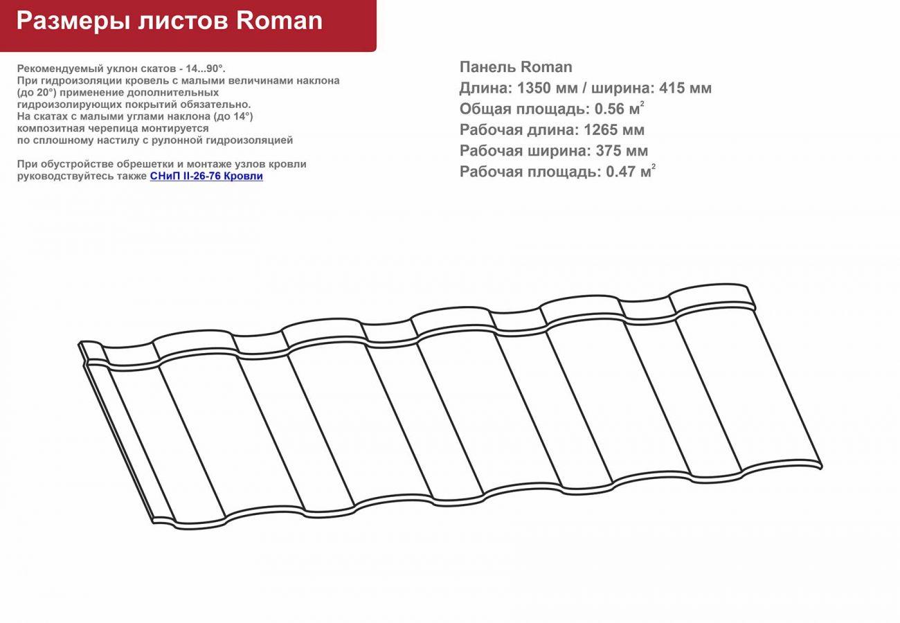 Картинка Чертеж Композитная черепица Roman