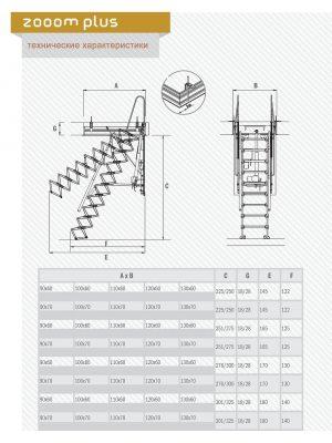 Картинка Размеры Чердачная лестница с электроприводом - FANTOZZISCALE MOTOR