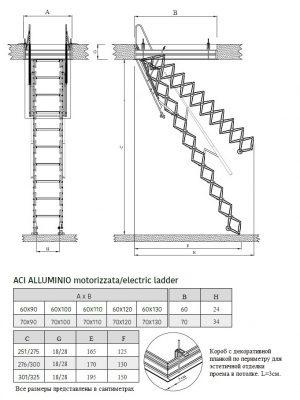 Картинка Размеры Чердачная лестница с электроприводом - FANTOZZISCALE MOTOR BASE
